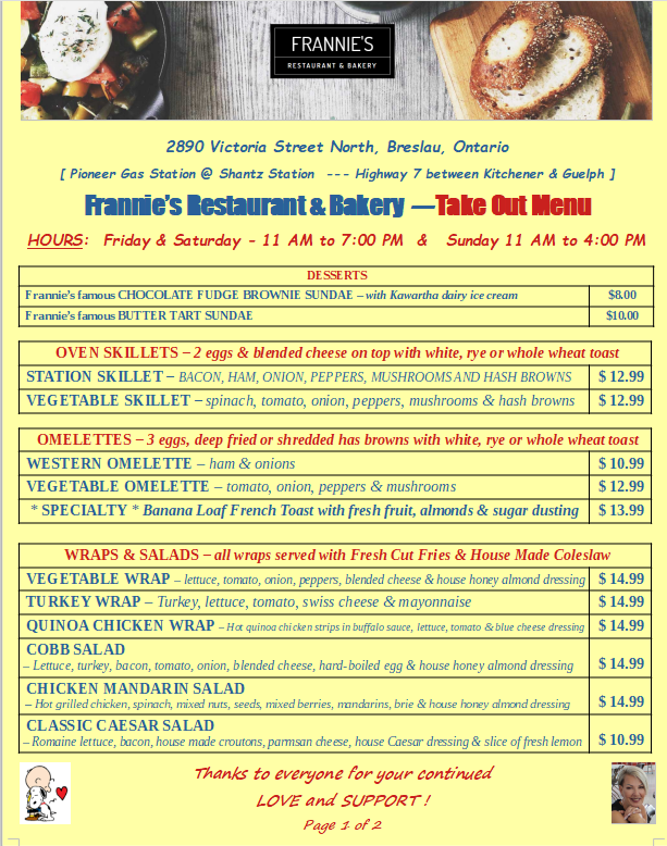 Frannies Take Out Menu 1