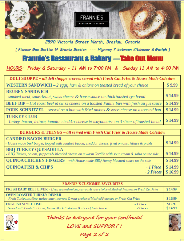 Frannies Take Out Menu 2